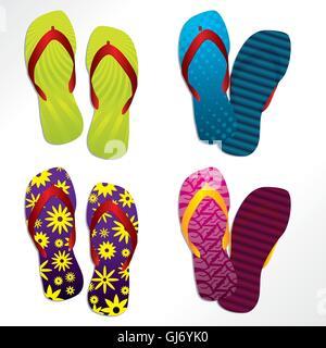 Various flip flop designs - Stock Photo