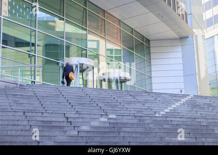 Europe, Germany, Hesse, Frankfurt, office worker on his way to the office - Stock Photo