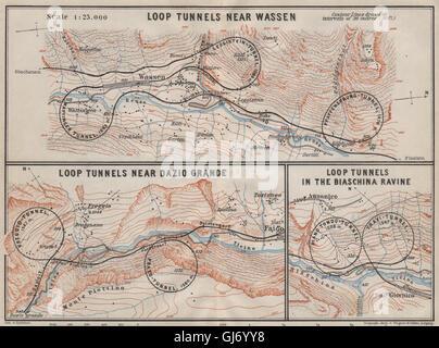 ST GOTTHARD RAILWAY SPIRAL/LOOP TUNNELS Wassen Freggio Prato Biaschina, 1909 map - Stock Photo