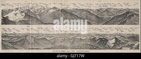 PIZ LANGUARD PANORAMA. Bernina Roseg Monte Rosa Mont Blanc Cristallo, 1909 map - Stock Photo