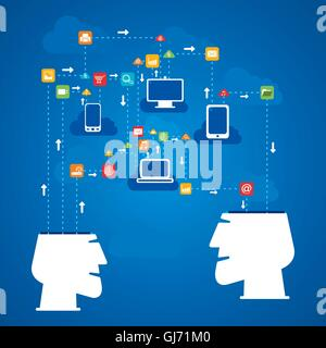 social media network connect to every device concept vector - Stock Photo