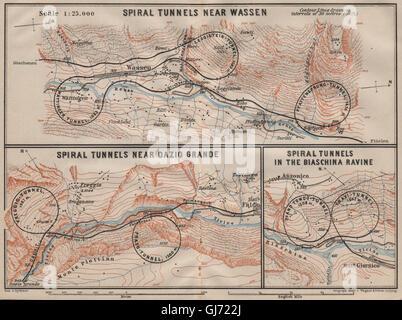 ST GOTTHARD RAILWAY SPIRAL/LOOP TUNNELS Wassen Freggio Prato Biaschina, 1911 map - Stock Photo