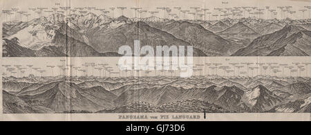 PIZ LANGUARD PANORAMA. Bernina Roseg Monte Rosa Mont Blanc Cristallo, 1911 map - Stock Photo