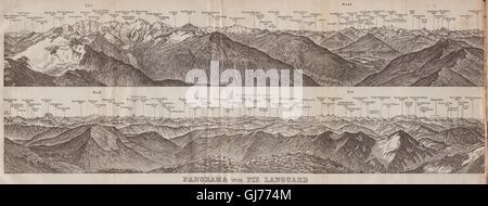 PIZ LANGUARD PANORAMA. Bernina Roseg Monte Rosa Mont Blanc Cristallo, 1913 map - Stock Photo