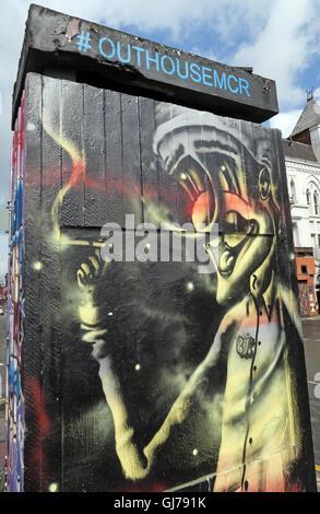Northern Quarter Art in Stevenson Square Manchester, UK - Wall Graffiti August2016 OUTHOUSEMCR - Stock Photo
