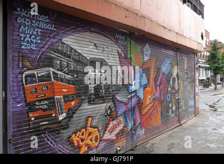 Kelzo Manchester mural in shutter, Koffee Pot, Northern Quarter Artwork, NQ, Manchester, North West England, UK, - Stock Photo