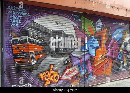 Kelzo Manchester mural in shutter, Koffee Pot, Northern Quarter Artwork, NQ, Manchester, North West England, UK, - Stock Photo