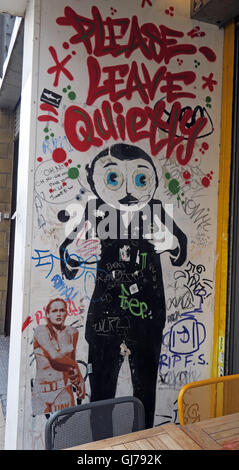 Frank Sidebottom, Please Leave Quietly, Northern Quarter Artwork, NQ, Manchester, North West England, UK, M1 1JR - Stock Photo