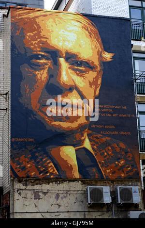 Author Anthony Burgess mural art work, Northern Quarter, Brightwell walk, Manchester M4 5JD - Stock Photo