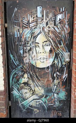 Northern Quarter Artwork, NQ, Manchester, North West England, UK, M1 1JR - Stock Photo