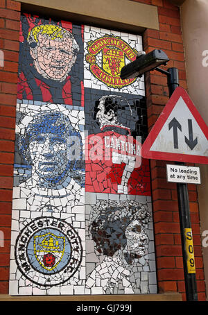 Afflecks Palace Manchester - Football Mosaic art MUFC MCFC - Stock Photo