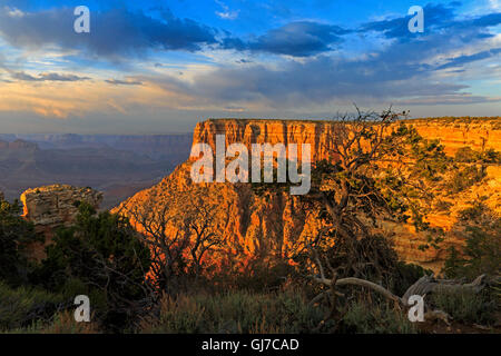 An impressive red rock butte from the east side of Moran Point in Grand Canyon National Park, Arizona - Stock Photo