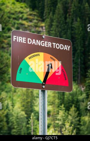 Fire danger sign, Banff National Park, Alberta, Canada - Stock Photo