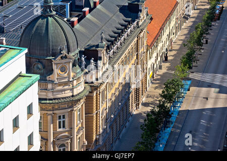 Street and architecture of Ljubljana aerial view, capital city of Slovenia - Stock Photo