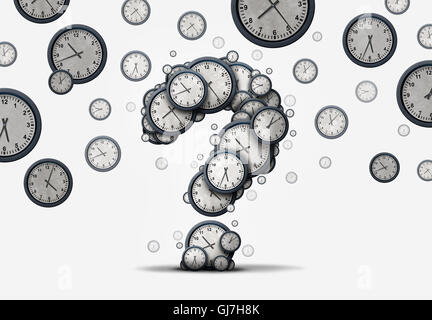 Time questions concept as a group of floating clocks and timepieces shaped as a question mark as a metaphor for - Stock Photo