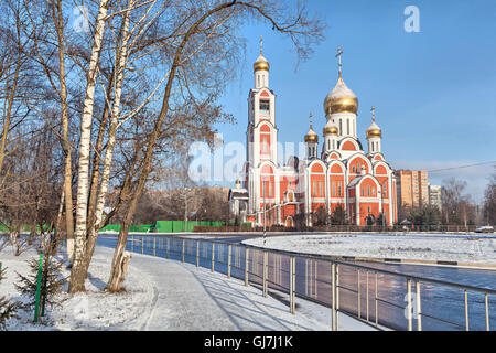Church of St. George the Victorious in winter, Odintsovo, Moscow oblast, Russia - Stock Photo