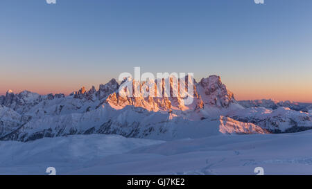 View on the Pale di San Martino mountain group. Alpenglow at sunset. The Dolomites. Italian Alps. Europe. - Stock Photo
