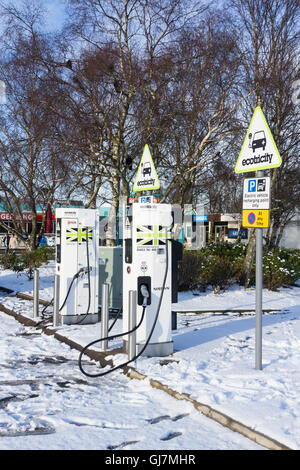 Ecotricity electric vehicle recharging points at Southwaite services on the M6 near Carlisle, Cumbria. - Stock Photo