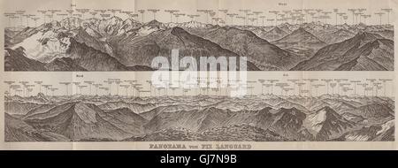 PIZ LANGUARD PANORAMA. Bernina Roseg Monte Rosa Mont Blanc Cristallo, 1920 map - Stock Photo