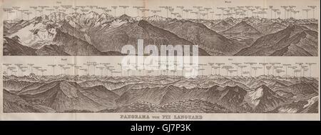PIZ LANGUARD PANORAMA. Bernina Roseg Monte Rosa Mont Blanc Cristallo, 1922 map - Stock Photo