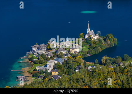 Austria, Carinthia, Wörthersee, Maria Wörth, view from the Pyramidenkogel - Stock Photo