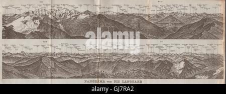 PIZ LANGUARD PANORAMA. Bernina Roseg Monte Rosa Mont Blanc Cristallo, 1928 map - Stock Photo