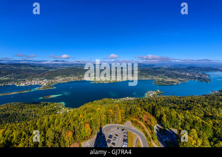 Austria, Carinthia, Wörthersee, middle section with Pörtschach and Maria Wörth, view from the Pyramidenkogel - Stock Photo