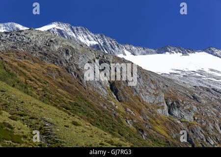 alpine scenery in the Schlegeisspeicher and Schlegeisgrund in the high alps nature park of Zillertal alps, Austria - Stock Photo