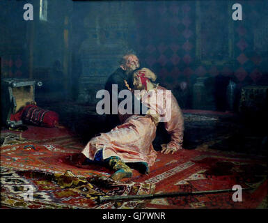 Ivan the Terrible And His Son Ivan, 16 November 1581 by Ilya Repin, 1885.   Ivan IV Vasilyevich 1530 – 1584), commonly - Stock Photo