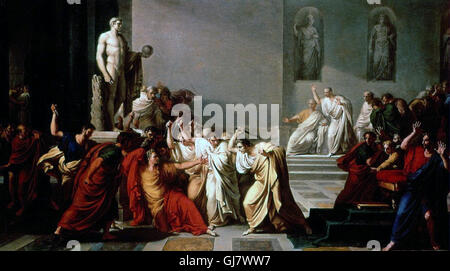 The 'Death of Julius Caesar', as depicted by Vincenzo Camuccini. Caesar was assassinated on the Ides of March (15 - Stock Photo