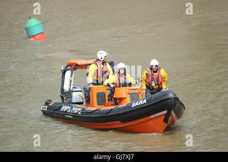 Severn Area Rescue Association SARA Lifeboat exercise on the River Wye in Chepstow Wales UK - Stock Photo