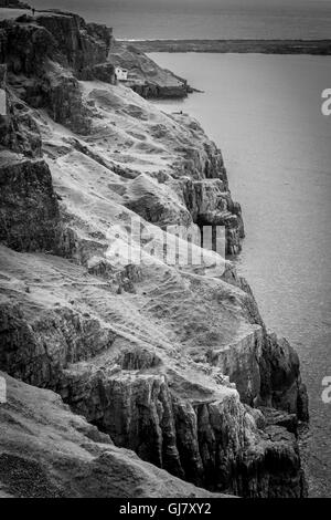 Cliff view of the Gower Peninsula - Stock Photo