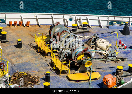 Anchor Winch on front of ship - Stock Photo