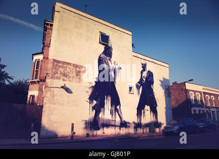 'Fight Club' graffiti by Conor Harrington. Dulwich, London. 2014   Street Art - vintage look. - Stock Photo