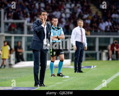 Turin, Italy. 13th Aug, 2016. Moreno Longo, head coach of FC Pro Vercelli, gestures during the third round of TIM - Stock Photo