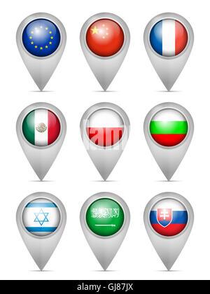 Map marker national flag set on a white background. - Stock Photo