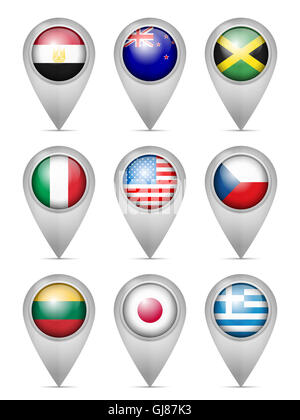Map marker national flag set on a white background. - Stock Photo