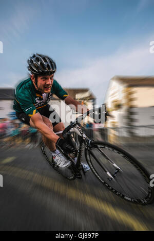 Criterium, cycle,  racing around Clitheroe town centre. - Stock Photo