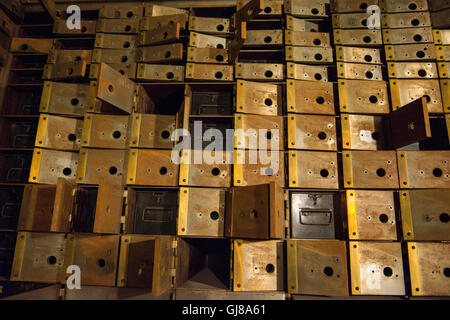Vintage bank empty bank boxes in a former bank vault. - Stock Photo