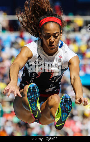 RIO DE JANEIRO, RJ - 13.08.2016: ATHLETICS RIO 2016 OLYMPICS - Katarina Johnson-Thompson (GBR) in dispute Jump Heptathlon - Stock Photo