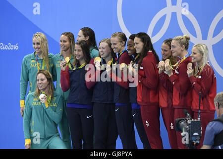 Rio De Janeiro, Brazil. 13th Aug, 2016. Players of Australia, the United States and Denmark (from L to R) attend - Stock Photo