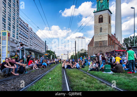Berlin, Germany, 13th August 2016. The Hanfparade (Hemp parade) takes place annually in August. Demonstrators gathered - Stock Photo