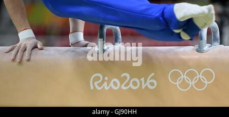 Rio de Janeiro, Brazil. 14th Aug, 2016. The Pommel horse. Artistic Gymnastics Apparatus Finals. Rio Olympic Arena. - Stock Photo