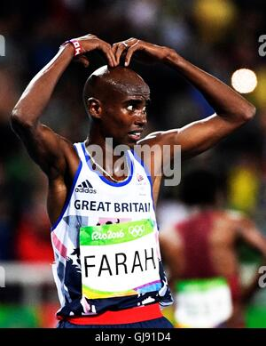 Rio de Janeiro, Brazil. 13th Aug, 2016. Mo Farah (GBR) wins the gold medal in the Men's 10,000m at the 2016 Olympic - Stock Photo