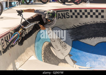 Bicycle stunts at the skatepark at Huntington Beach, California, During the VANS US open competition.July 27 2016 - Stock Photo