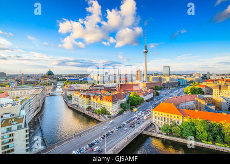 Berlin, Germany viewed from above the Spree River. - Stock Photo