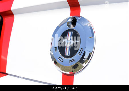 Logo Ford Mustang photographed in close-up - Stock Photo
