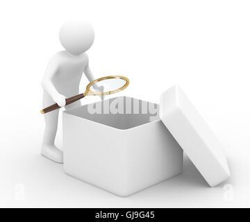 person with magnifier investigates empty box. Isolated 3D image - Stock Photo