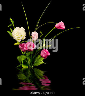 Pink and white eustoma flowers - Stock Photo