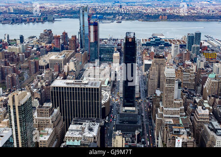 New York City USA View from Empire State Building Looking towards the Hudson River along W 34th street. - Stock Photo